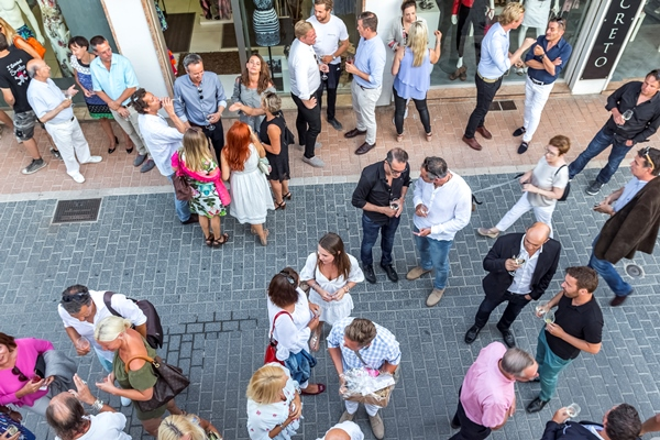 View of the party from the roof terrace