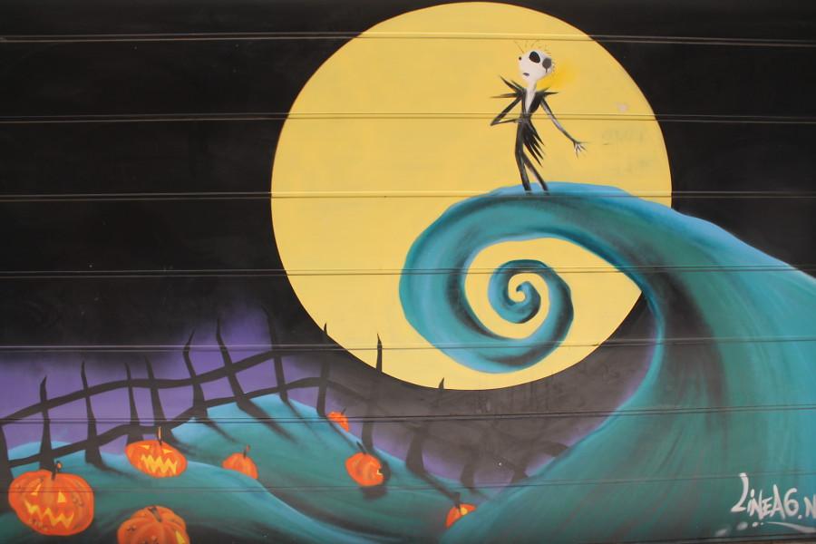Street art painted on a garage door