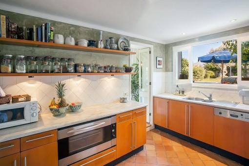Modern kitchen with views of the garden