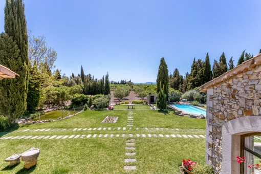 Views of the garden and pool area