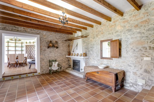 The finca offers a fireplace