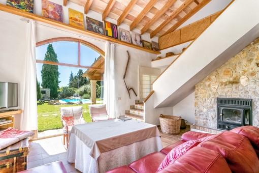 Living area with garden views