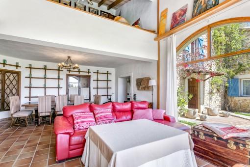 Colourful sofa of the living area
