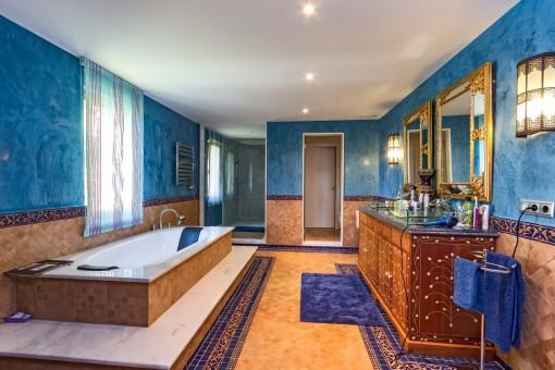 Luxury bathroom with big bathtub