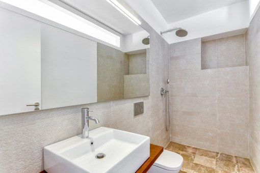 Modern and new bathroom with shower