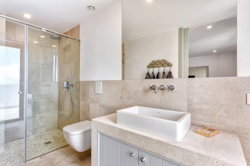 Beautiful bathroom with walk-in shower