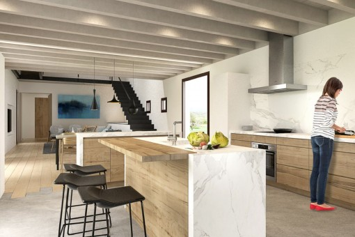 Total equipped interior design with cooking island