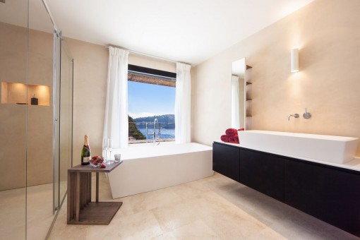 Bathroom with sea views