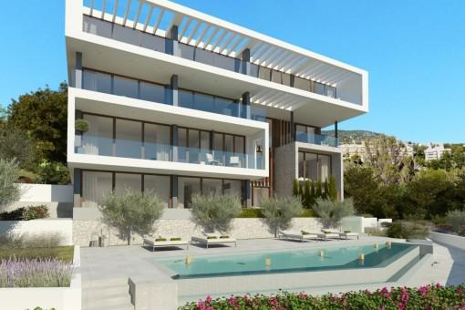 Wonderful communal pool with large terrace
