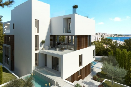 The sea view apartment offers a fantasic terrace with private pool