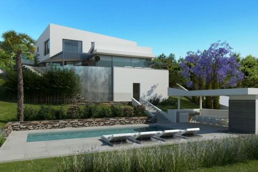 Garden with stylish pool area