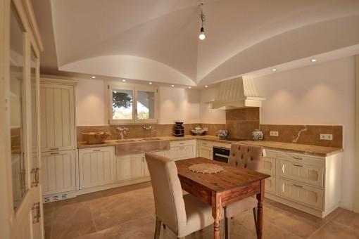 Views of the elegant kitchen in white