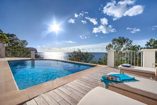 Fantastic pool area with sunbeds