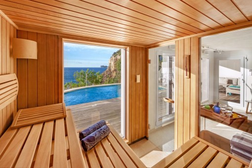 Sauna with sea views
