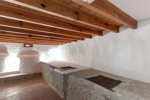 Originally restored basement with oil press