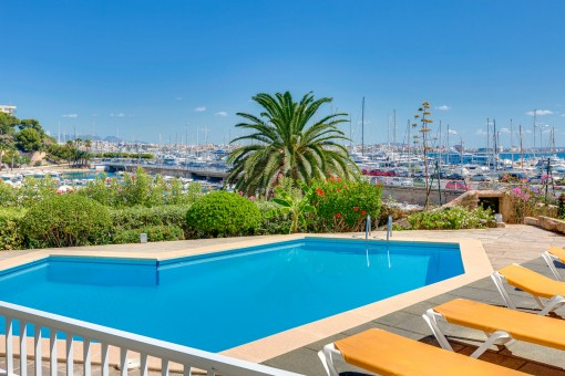 Pool with fantastic sea views
