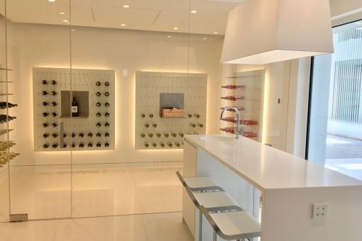 Wine storage next to the kitchen