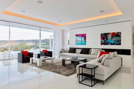 Spacious living area with panoramic windows