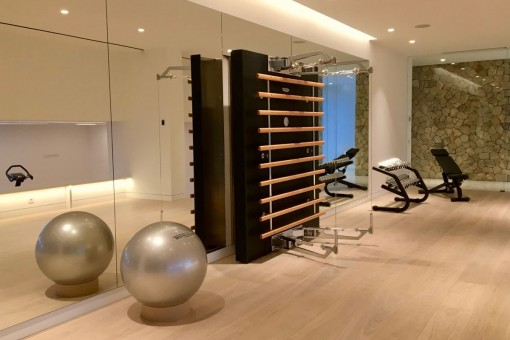 Equipped fitness room