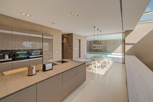Dining area and modern kitchen