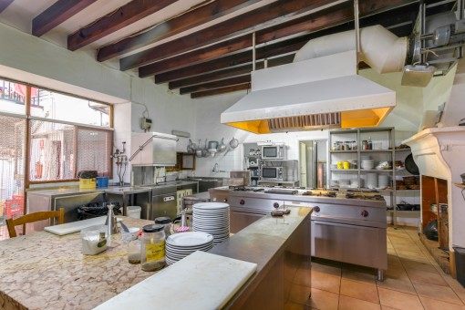 Spacious restaurant kitchen