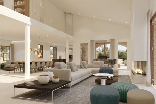Open living area with view to the kitchen