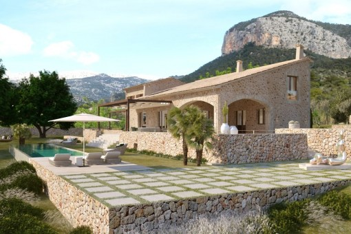 Luxurious finca-construction project, key-in-hand, with highest quality equipment and unique views over the countryside and the Puig d'Alaro