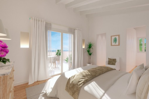 Master bedroom with access to the balcony
