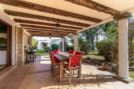 Large terrace with dining area