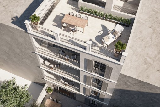 Newly-built 2-bedroom penthouse apartment with a large roof terrace very close to the Palma sport and tennis club in Santa Catalina