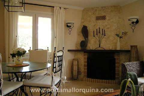 Living/ dining room with chimenea