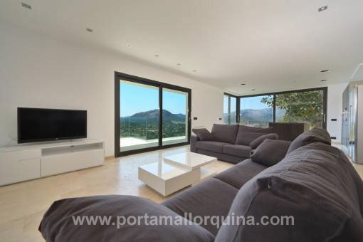 Modern living room with fantastic panoramic views