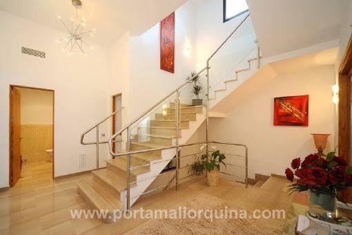 The villa offers marble floors