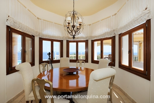 Dining room with uniqual scenery