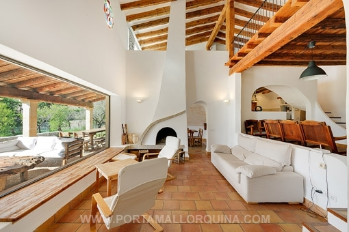 Lounge area with chimney and views