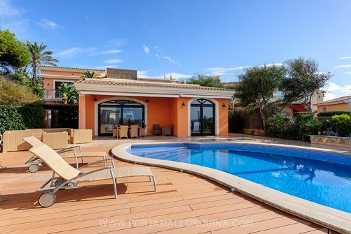 Swimming pool with views to the property