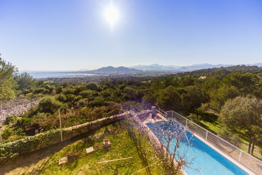 Views to the idyllic garden from the pool