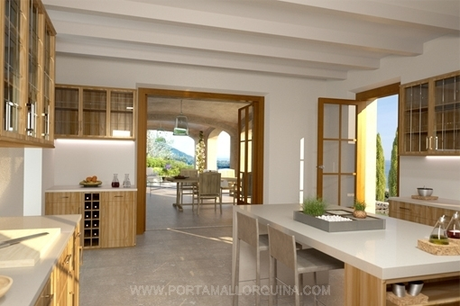 Modern country house kitchen with access to the covered garden