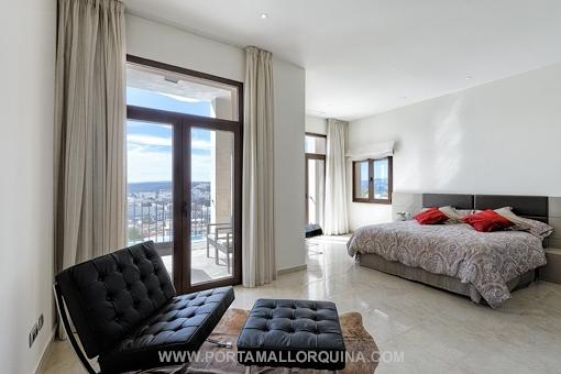 Master bedroom with views over Santa Ponsa