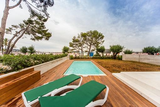 Spacious terrace beside the pool area