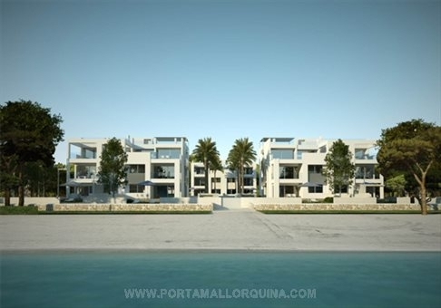 View of the modern apartment complex in front line of the sea