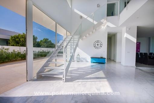 Lightflooded stylish staircase area
