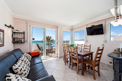 Sea views from the living and dining area