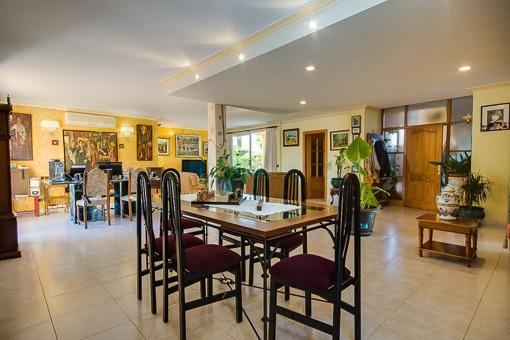 Modernly designed dining area