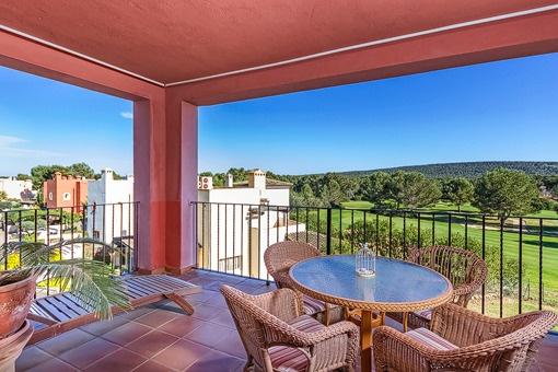 Balcony with unique golf course views