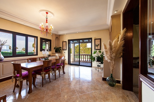 Spacious dining area with access to terrace
