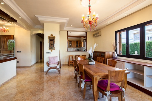 Bright dining room next to the kitchen