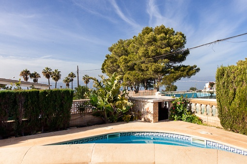 Sunny terraces beside the pool with fantastic sea views