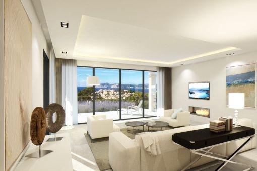 modern luxury villa with spectacular sea views in santa ponsa ... - Villa Wohnzimmer Modern