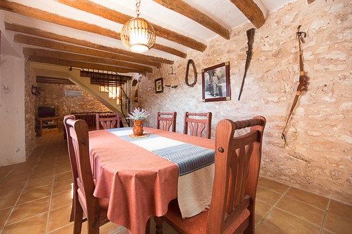 large natural-stone finca with large pool and guest house in
